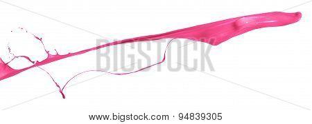 Pink Paint Splashing Isolated On White Background