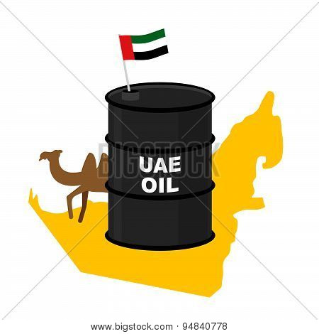Barrel oil UAE  map background. Flag United Arab Emirates. Camel peeks out from behind barrels. Vect