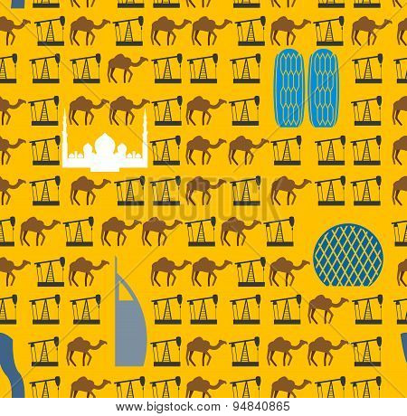 Landmarks In UAE and camels, oil pumps in desert seamless pattern. Vector background United Arab Emi