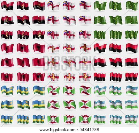 Angola, Herm, Adygea, Albania, Guernsey, Upa, Rwanda, Burundi, Uzbekistan. Big Set Of 81 Flags. Vect