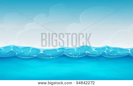 Seamless Summer Ocean Background For Ui Game