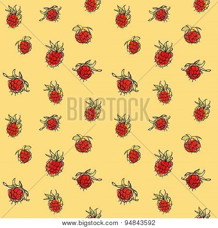Raspberry seamless pattern.