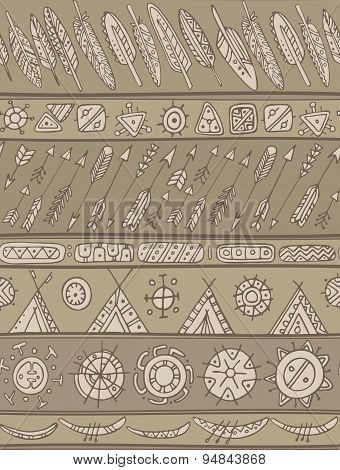Ethnic Pattern With Ornamental Stripes With Arrows, Feathers, Houses.