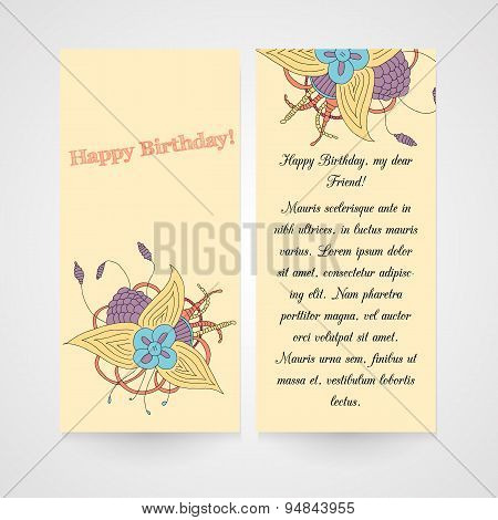 Card with abstract hamd drawn flower.