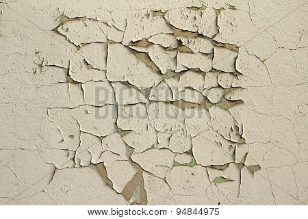 Grunge Texture Wall With Peeling Paint.