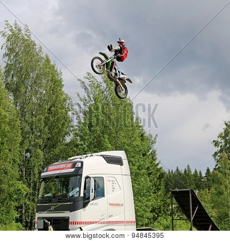 FMX Show By Joni Hynell And Co At Riverside Truck Meeting 2015