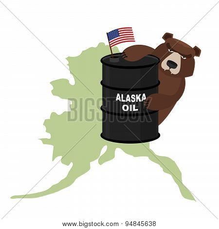 Oil Barrel Alaska map background. Flag of  United States. Bear keeps paws a barrel. Vector illustrat