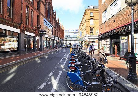 Bicycle parking in the center of Dublin.