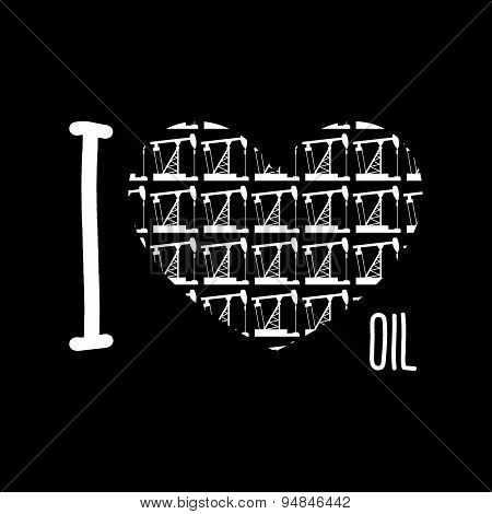Symbol heart of oil pumps. I love oil. Vector illustration.