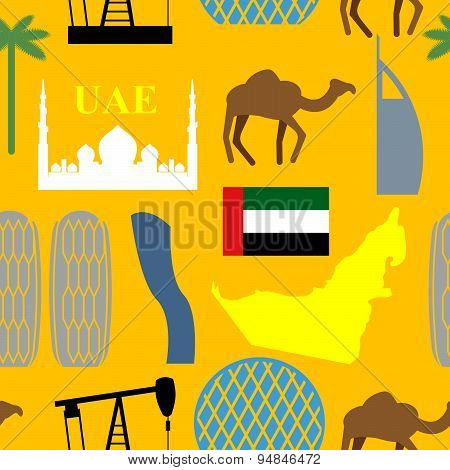 Seamless pattern United Arab Emirates. Desert and camels and palm trees and skyscrapers. UAE Attract