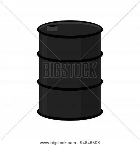 Barrel of oil on a white background. Black steel barrel. Vector illustration