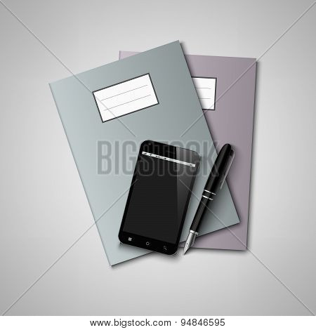 Notebooks With Pen And Smart Phone Background