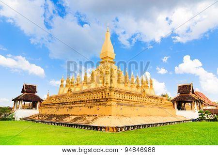 Beautiful Vientiane Pagoda (wat Pha That Luang) In Sunshine Day