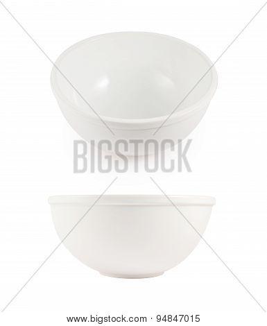 White ceramic bowls isolated