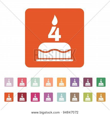 The Birthday Cake With Candles In The Form Of Number 4 Icon. Birthday Symbol. Flat