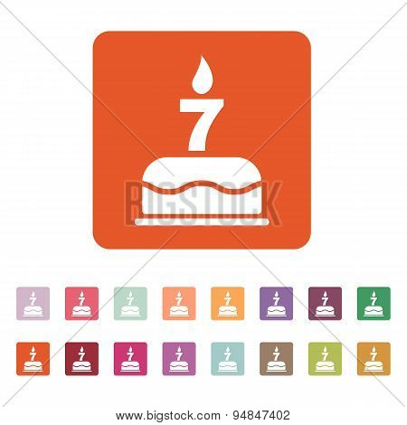 The Birthday Cake With Candles In The Form Of Number 7 Icon. Birthday Symbol. Flat