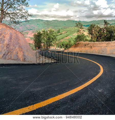 Beautiful Asphalt Road And Sharp Curve Climb On Mountain