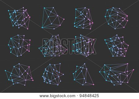 Polygonal Triangles, Hipster Cosmic Logo, Space Icon