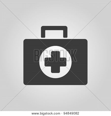 The Medicine Chest Icon. Ambulance Symbol. Flat