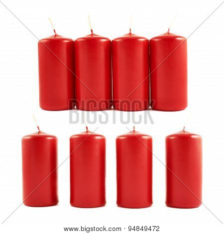 Red wax candle composition isolated