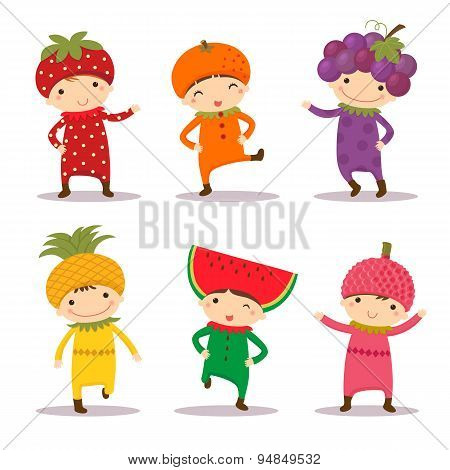 Cute Kids In Strawberry, Orange, Grape, Pine Apple, Watermelon And Litchi Costumes