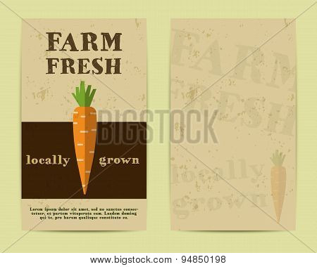 Stylish Farm Fresh flyer, template or brochure design with carrot. Mock up design with shadow. Best