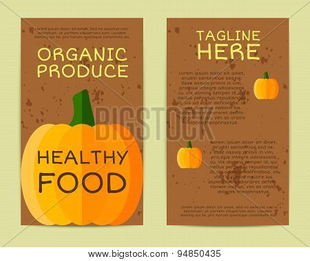 Stylish Farm Fresh flyer, template or brochure design with pumpkin vegetable. Mock up design with sh