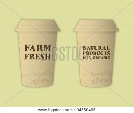 Stylish Farm Fresh paper cups template. Mock up design with shadow. Vintage colors. Best for natural