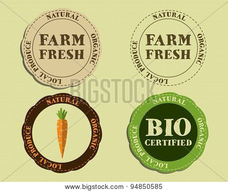 Stylish Farm Fresh logo and badge templates with carrot. Organic, eco. Mock up design. Retro colors.
