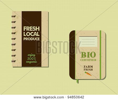 Stylish Farm Fresh brand book, notebook templates with ecology logo. Organic, eco. Mock up design. R