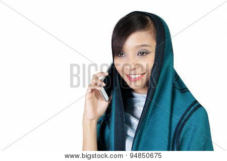 Smiling Muslim Girl Talk On Phone