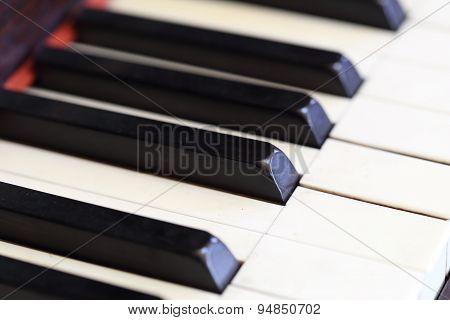 Piano Keys And Wood Grain