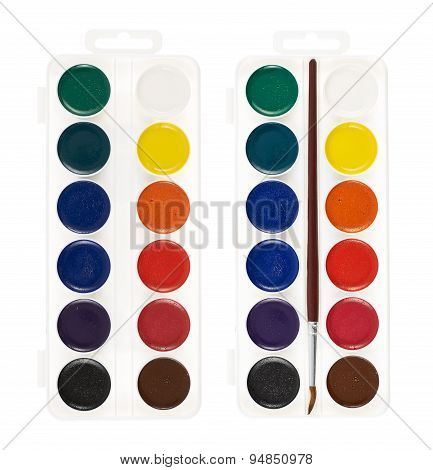 Watercolor painting set, isolated