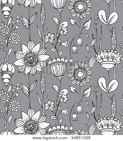 Vector Seamless Pattern With Fantasy Flowers