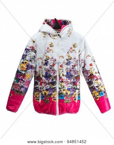 Down Jacket With A Bright Floral Pattern