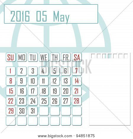 Abstract Design 2016 Calendar With Note Space For May