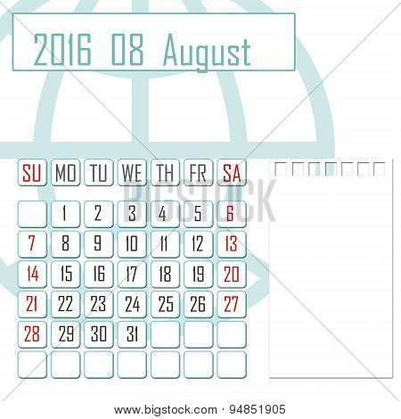 Abstract Design 2016 Calendar With Note Space For August