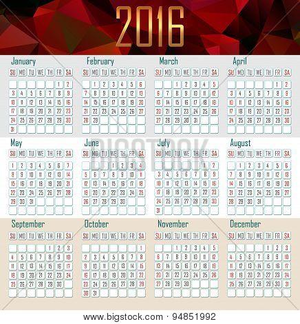 Illustration Calendar For 2016 In Simple Design