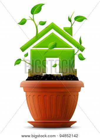 Growing House Symbol As Plant With Leaves In Flower Pot