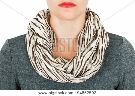 Silk Scarf. Beige Silk Scarf Around Her Neck Isolated On White Background.