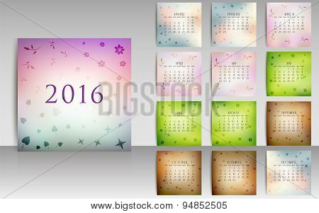 Calendar Set For 2016 In Blurred Smooth Design With Seasonal Elements Vector
