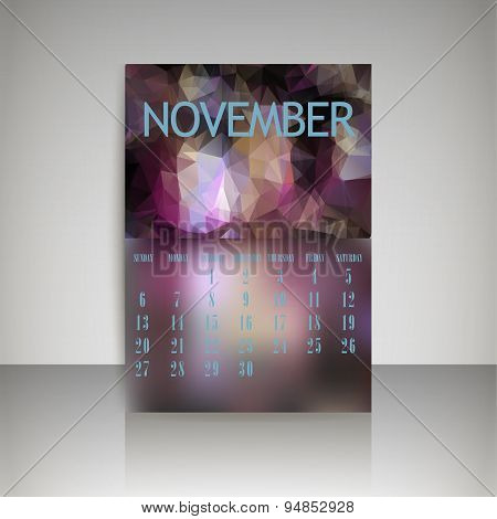 Geometrical Polygonal Triangles And Blurred Backgrounds 2016 Calendar Design For November Vector Eps