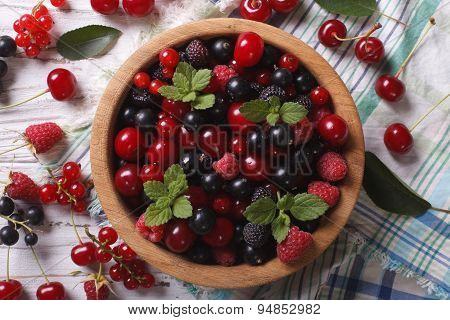 Salad Of Cherry, Raspberry, Currant And Blackberry Horizontal Top View