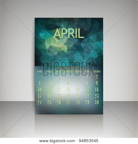 Geometrical Polygonal Triangles And Blurred Backgrounds 2016 Calendar Design For April Vector Eps10