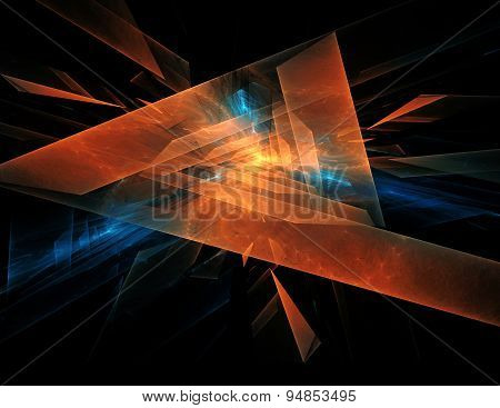 Orange - Blue Abstract Diamond Spiral Shape On Black Background