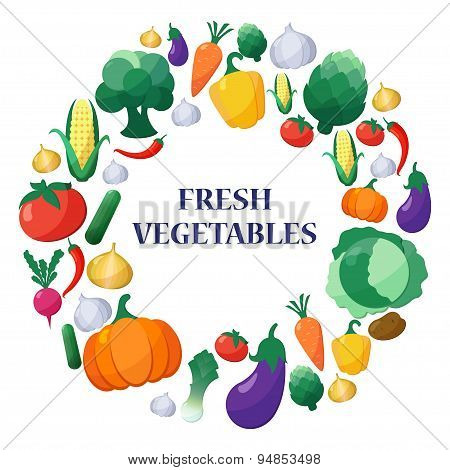 Vector Flat Style Vegetables Set In Circle Shape