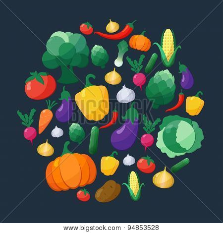 Vector Vegetables Flat Style Icons Set In Circle Shape Over Dark Background