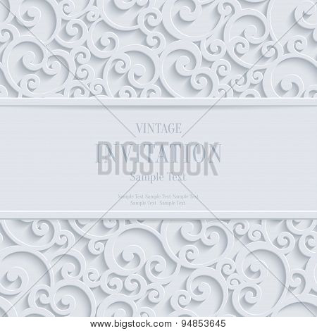 Vector White 3D Vintage Christmas Or Invitation Cards Background With Swirl Damask Pattern