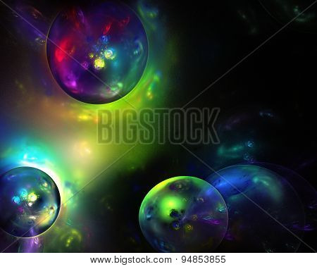 Color Abstract Soap Bubble Fractal Background