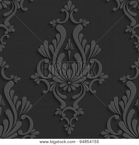 Black 3d Floral Damask Seamless Pattern